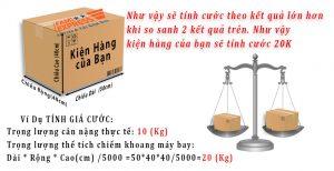 Khoi luong gui hang di nuoc ngoai se quy doi tu the tich