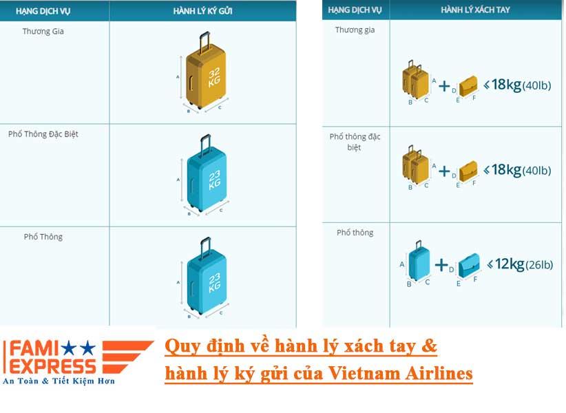 di may bay duoc mang bao nhieu hang ly tai Vietnam Airlines